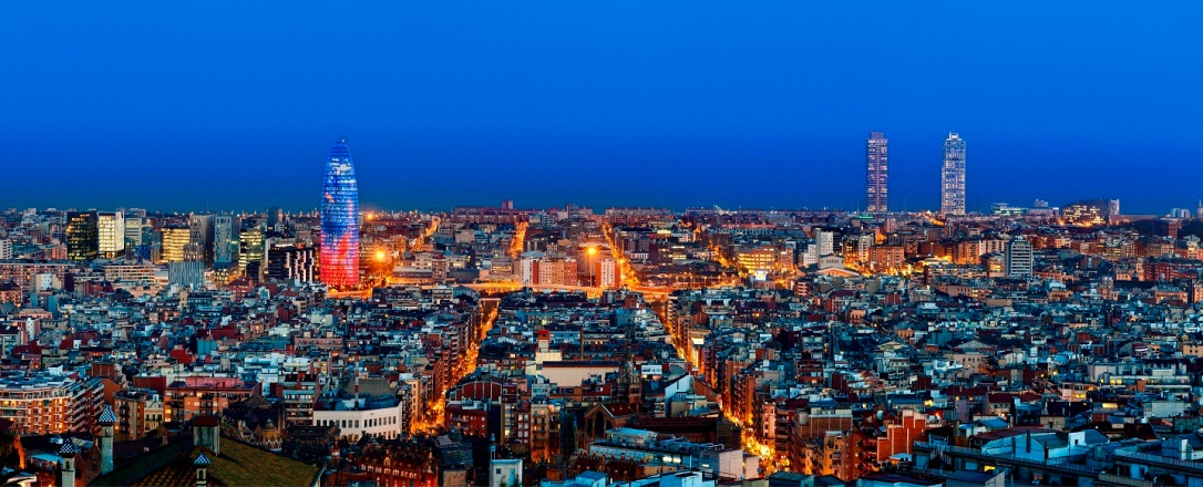 Barcelona skyline with Torre Agbar at twilight, Barcelona, Spain